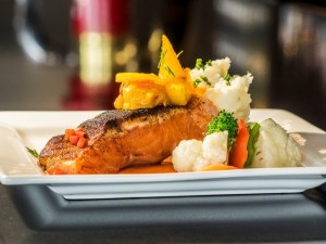 Blackened Salmon with Mango Pineapple Chutney. Photo by Jessie Voight