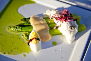 Salad of Sicilian burrata, asparagus, boiled egg, and lemon curd aioli, La Posada de Santa Fe ©Amiel Gervers Photography