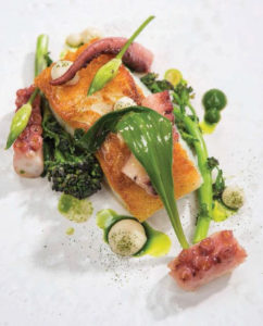Cod, Octopus, Purple Broccoli, Broccoli Puree, and Horseradish Mayonnaise From The New Irish Table: Recipes from Ireland's Top Chef